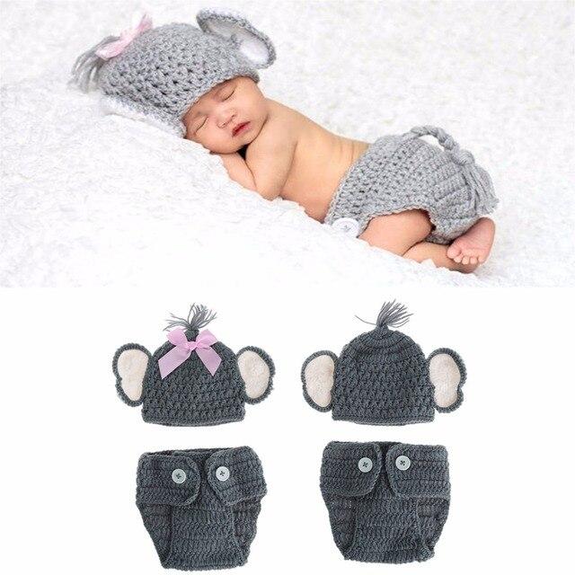 Recién Nacido bebé elefante Punto de ganchillo bebé sombrero traje ...