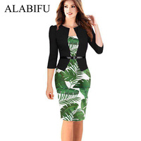 ALABIFU 2019 Een Stukken Patchwork Bloemen Zomer Jurk Elegante Formele Werk Office Pencil Dress Plus Size Bodycon Party Dress 5XL-in Jurken van Dames Kleding op