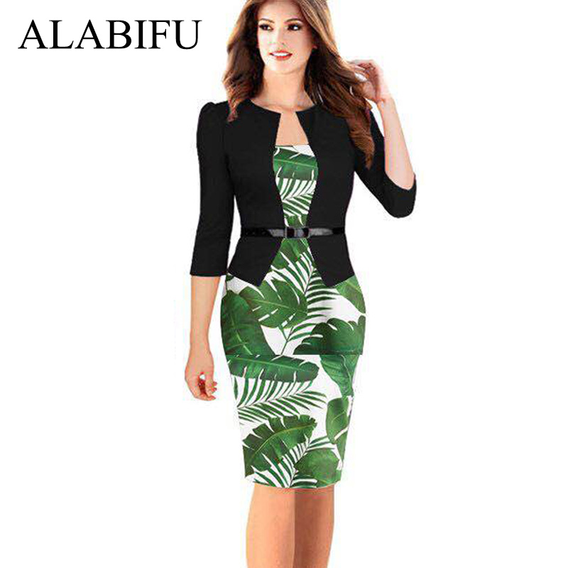 US $17.74 29% OFF|ALABIFU 2019 One Pieces Patchwork Floral Summer Dress  Elegant Formal Work Office Pencil Dress Plus Size Bodycon Party Dress  5XL-in ...
