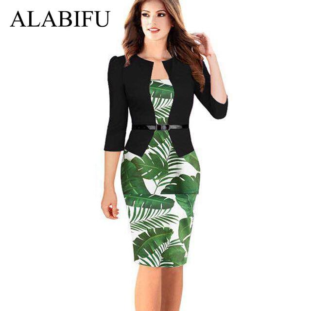 ALABIFU 2019 One Pieces Patchwork Floral Summer Dress Elegant Formal Work Office Pencil Dress Plus Size Bodycon Party Dress 5XL