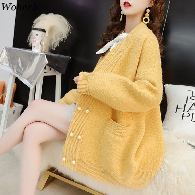 Woherb New Autumn Cardigan Women Knit Sweater Women 2020 Loose Knitwear Coat Pearl Button Ladies Elegant Cardigans 22888