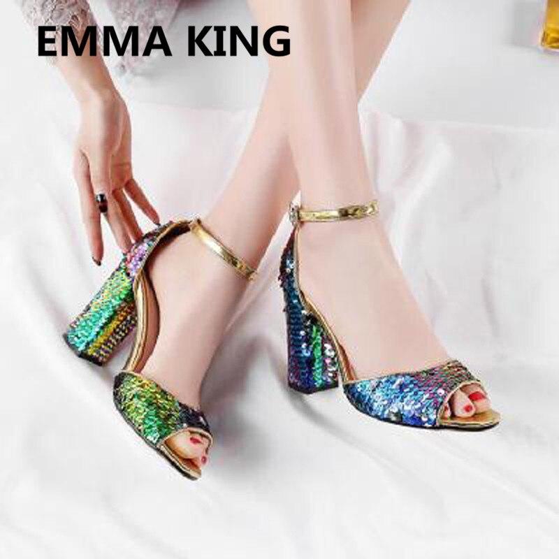 Nova Glitter Bling Bling Sandálias Das Mulheres Do Partido Tira No Tornozelo Do Dedo Do Pé Aberto Grossas de Salto Alto Senhoras Sapatos Da Moda Mulher Sandálias Gladiador - 6
