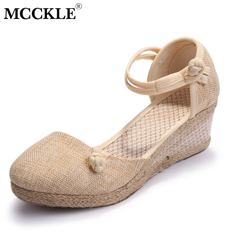 MCCKLE Wedges For Woman Embroidered Women Pumps Linen Canvas Wedge Sandals Summer Ankle Strap Med Heel Platform Shoe fm 34 4чайная пара морская ракушка pavone