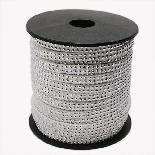 2 Ряд Платинового Алюминиевый Шипованных Корея Искусственные Замши Шнура, белый, 5x2 мм; около 20 метров/рулон