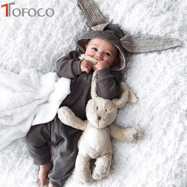 Meetcute New Born Baby Girl Boy Clothes Big Ears Rabbit With Cap Coat For  Newborns Photography Cotton Conjoined Spring Autumn d2c308a9a453
