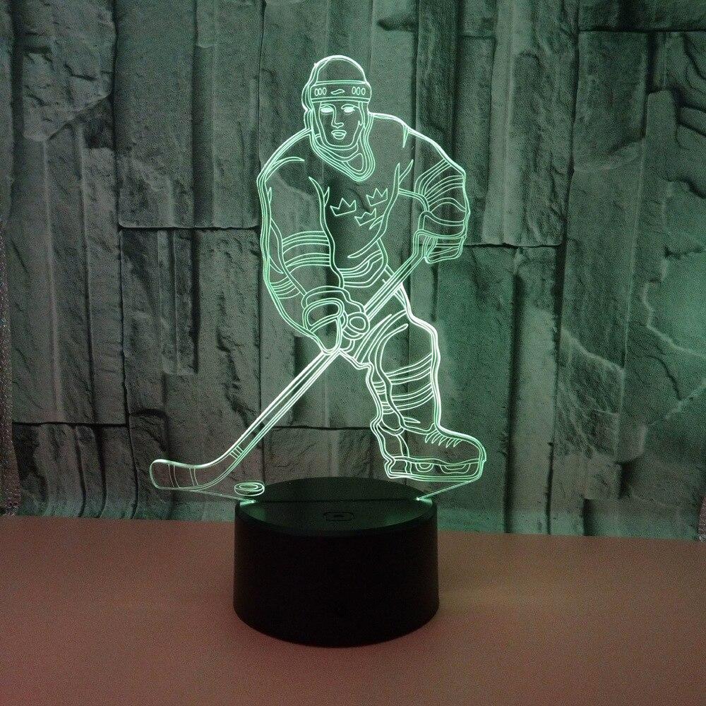 Sensor 3d Nachtlicht Led Fernbedienung Touch Schalter Hockey Player Bunter Usb Acryl 3d Lampe Sport Schreibtischlampe Weihnachtsdekoration