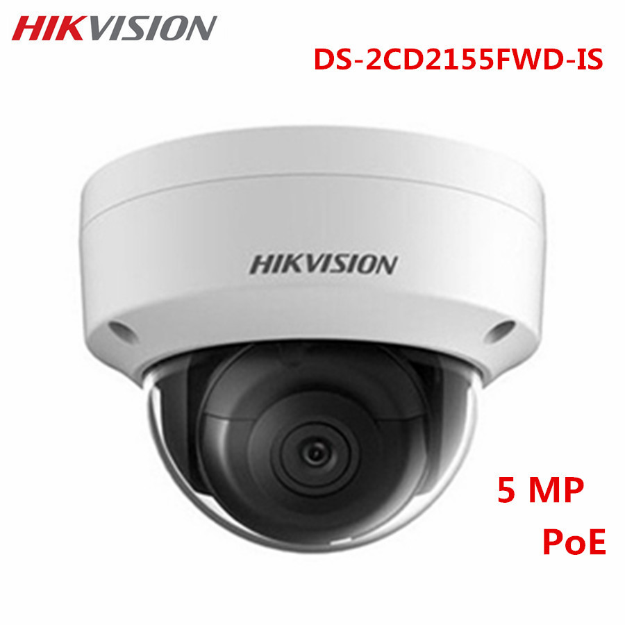 Hikvision 5MP POE IP Camera DS-2CD2155FWD-IS HD H.265 IP67 1K10 ONVIF Audio Alarm Night Version CCTV Surveillance Dome Camera 8mp ip camera cctv video surveillance security poe ds 2cd2085fwd is audio for hikvision dahua dvr hik connect ivm4200 camcorder