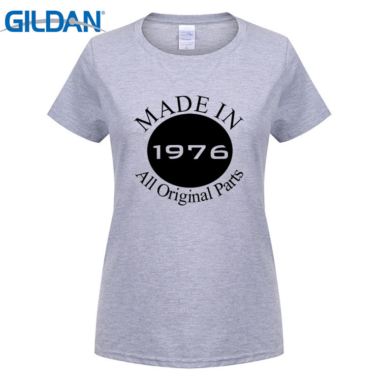 GILDAN Fashion Brand T Shirt Womens Made In 1976 40th Birthday Party Cool Short Sleeve Cute White