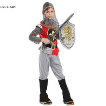 Halloween Rome warrior Crusaders Costumes for Boys Kids Children Swordsman Knight Cosplays Carnival Purim Masquerade party dress