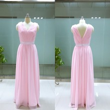 Real Photo Elegant V-neck Chiffon Pink Bridesmaid Dress brautjungfernkleid Pleats Zipper Back vestidos de damas de honra adultas