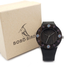 BOBO BIRD women Round Quartz Wooden Watches Ladies with Print Flowers with Real Leather Band in Gift Box