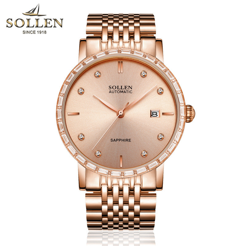 luxury brand Mechanical men rose gold watches automatic watch water resistant full