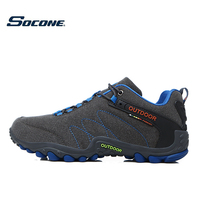 SOCONE Men Hiking Shoes Waterproof Leather Shoes Climbing Fishing Shoes New Popular Outdoor Shoes