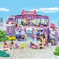 Cogo dream girl educativos bloques de construcción de juguete para niños regalos para niños mini moto compatible con legoe amigos de compras