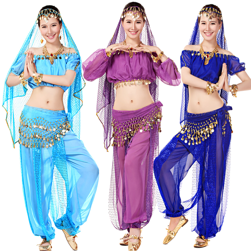 Women oriental Ballroom Stage wear Outfits Suits Girls Sequins Belly Dance wear Costume Bollywood Costumes Indian dancing Dress