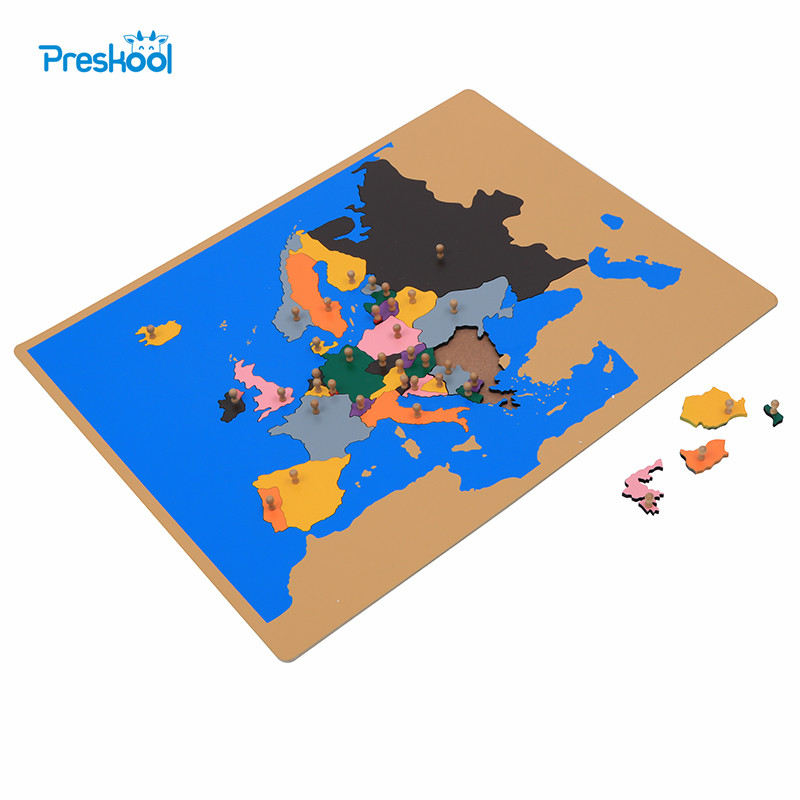 Baby Toy Montessori Puzzle Europe Map Learning & Education Early Childhood Education Kids Toys Brinquedos Juguetes rome arch bridge puzzle education science mechanics diy toy for kid montessori learning education building blocks for children