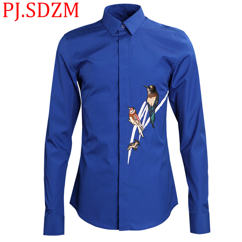 2018 New Europe and America Magpie Embroidery Men's Shirts Animal Fashion Long Sleeve Chinese Style Slim Fit Casual Solid M-4XL