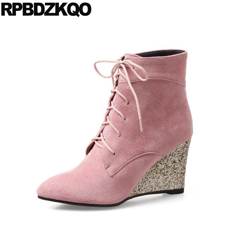 New Short Pointed Toe Winter Big Size Glitter Front Lace Up Casual Ankle Boots Autumn 10 Pink Wedge High Heel Fur Shoes Sequin front lace up casual ankle boots autumn vintage brown new booties flat genuine leather suede shoes round toe fall female fashion