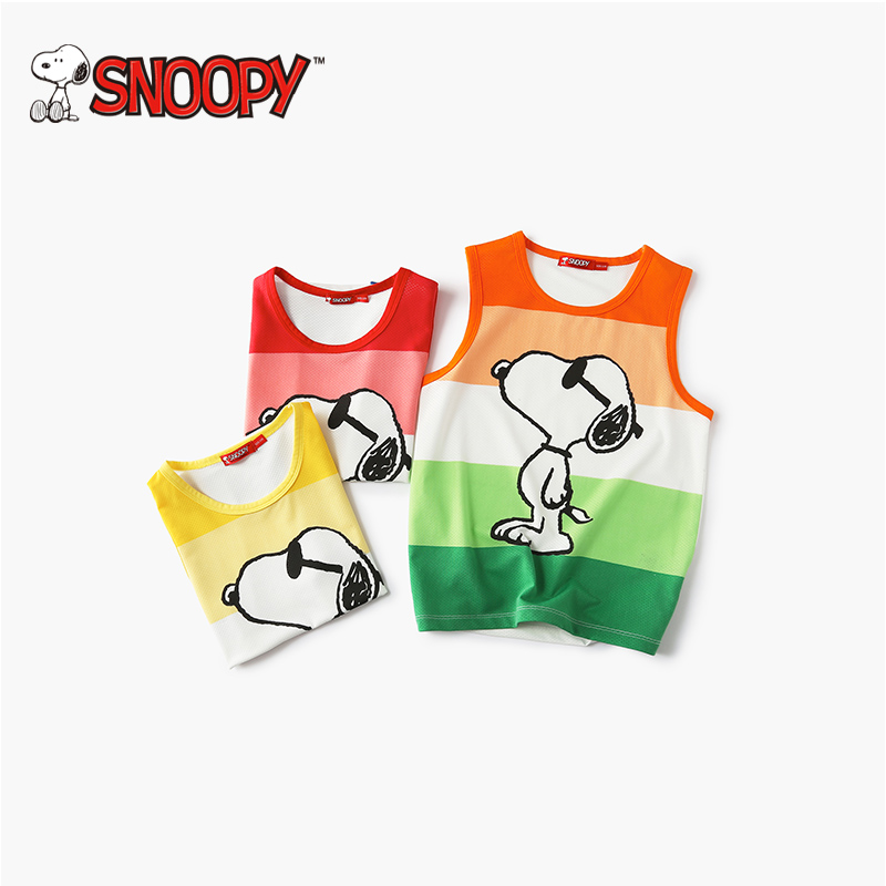 Snoopy 100% Cotton Sleeveless Casuals Color Boys T Shirt Brand Girl Tshirt Summer Cartooon Printing Tracksuits Class A Quality