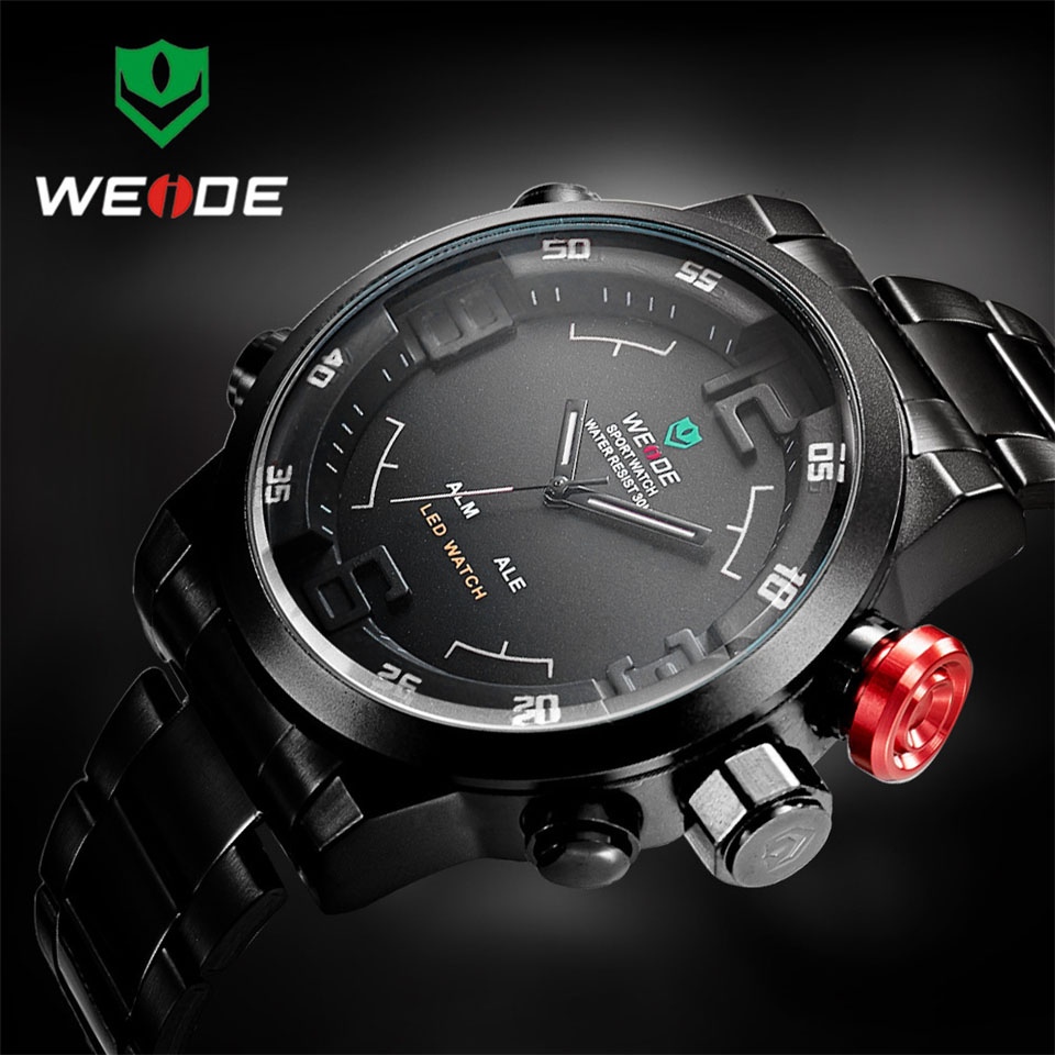 Image 3 - Top Luxury Brand WEIDE Men Full Steel Watches Men's Quartz Analog LED Clock Man Fashion Sports Army Military Wrist Watch-in Quartz Watches from Watches