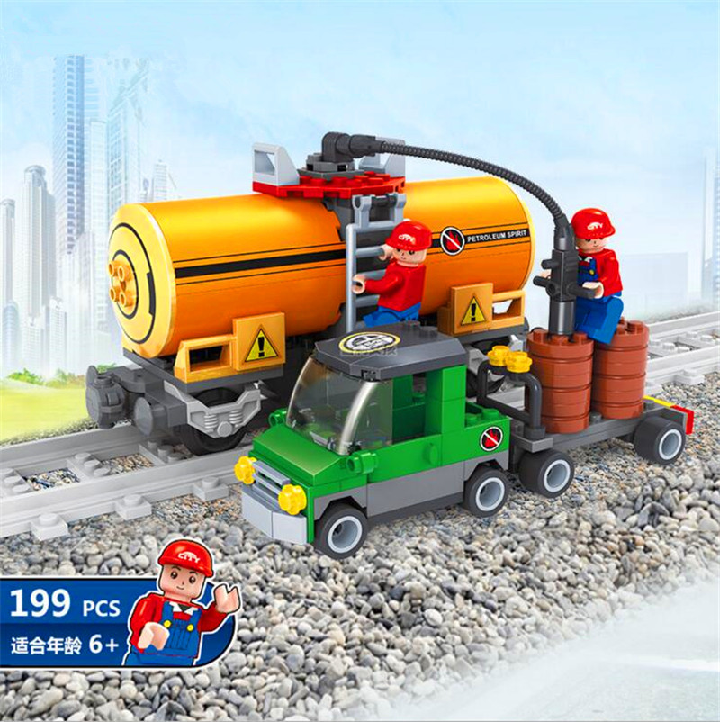 Building Blocks 19Bricks Toys 25414 train brick Construction Brick Block gift for Children educational toy gas station P291