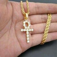Iced Zircon Ankh Cross Pendant Gold Silver Stainless Steel CZ Egyptian Key of Life Pendant Necklace Men Women Hip Hop Jewelry