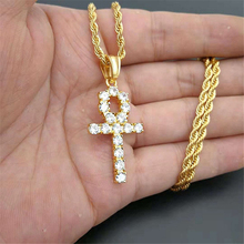 Iced Zircon Ankh Cross Pendant Gold Silver Stainless Steel CZ Egyptian Key of Life Pendant Necklace Men Women Hip Hop Jewelry ainuoshi 10k solid yellow gold pendant exquisite key pendant sona diamond women men lovers jewelry shining key separate pendant