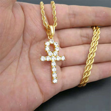 Iced Zircon Ankh Cross Pendant Gold Silver Stainless Steel CZ Egyptian Key of Life Pendant Necklace Men Women Hip Hop Jewelry(China)
