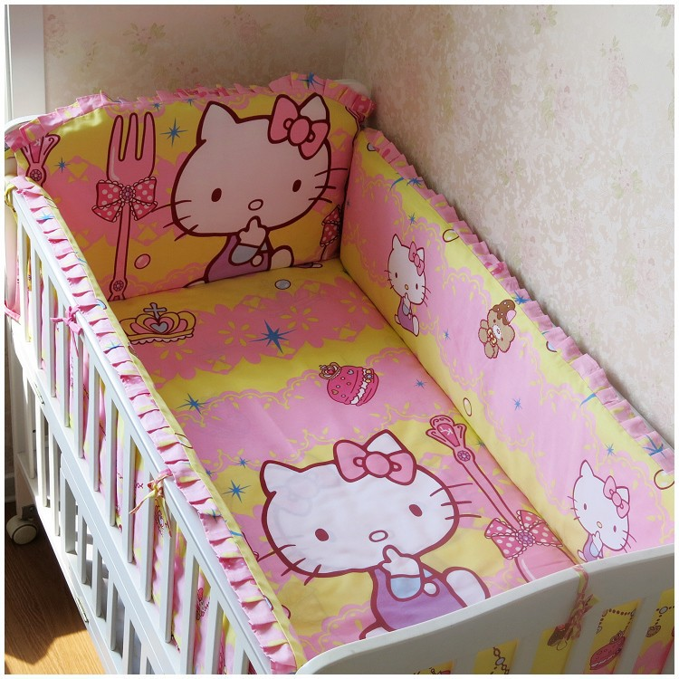 Promotion 6PCS Cartoon Customize baby bed around set unpick and wash bedding set bumpers sheet pillow