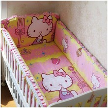 Promotion! 6PCS Cartoon Customize baby bed around set unpick and wash bedding set (bumpers+sheet+pillow cover)
