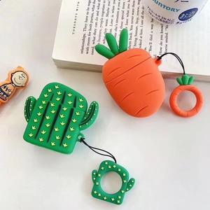 Image 2 - Nette 3D Obst Pflanze Kaktus Karotte Silikon Ring Lanyard Kopfhörer Kopfhörer Fall Für Apple Airpods 1 2 Zubehör abdeckung Tasche