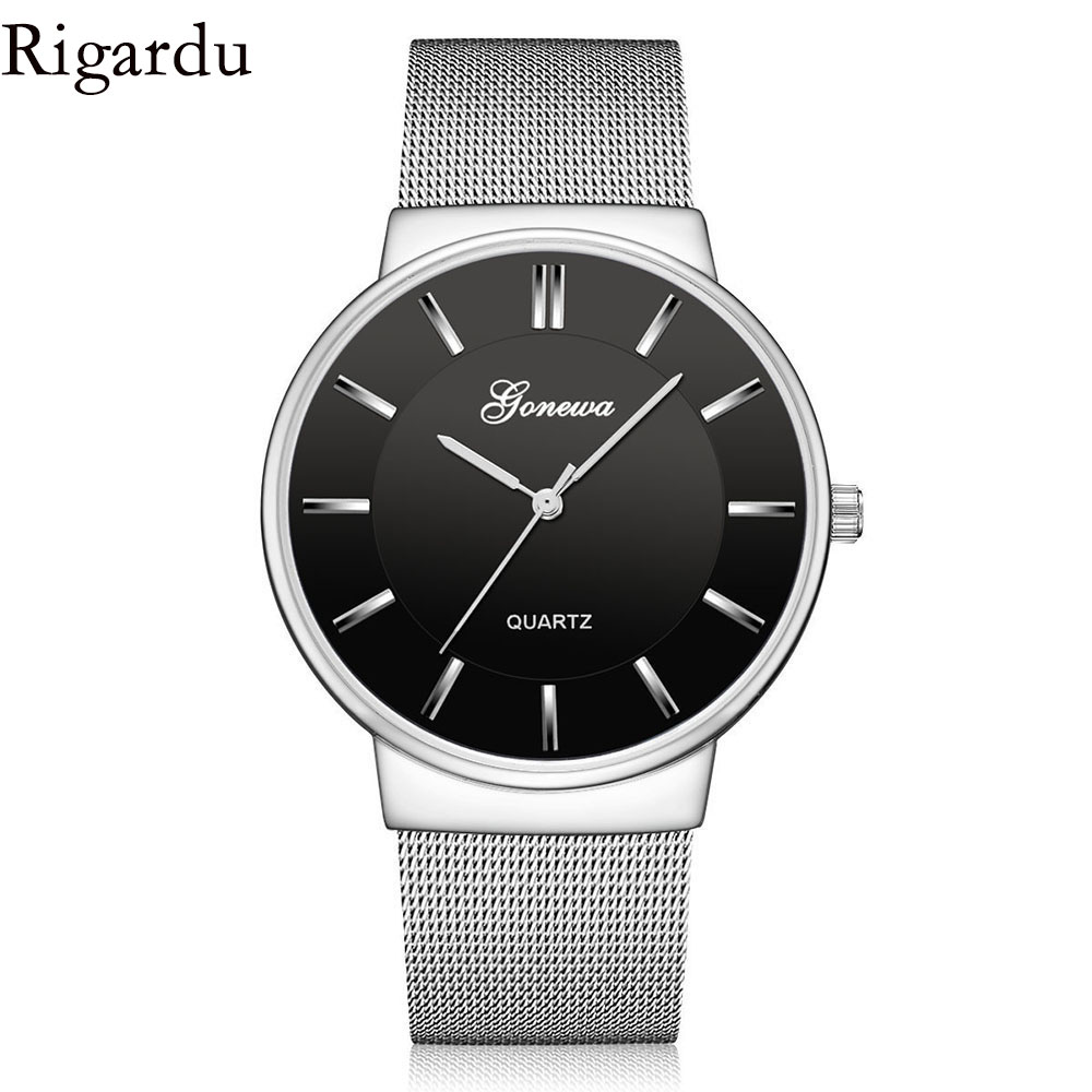 RIGARDU Luxury Men Wrist Watch Full Stainless Steel Watch Business Male Gift Classic Quartz Wrist Watches for Men #30 цена и фото