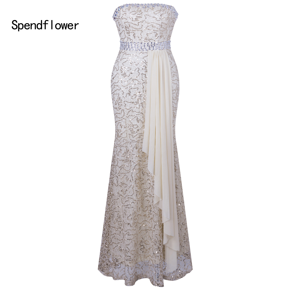 Spendflower Women's Sweetheart Lace Sequins Crystal Beads Elegant Long Ball Party Bridesmaid   Prom     Dress   G-119CH