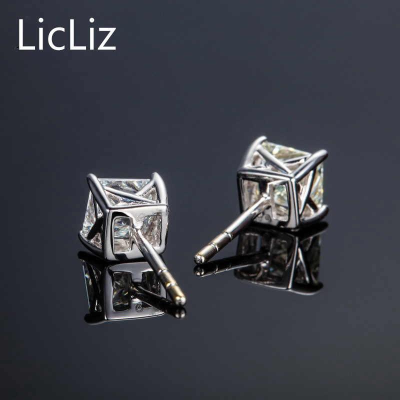 LicLiz 925 เงิน CZ Stud ต่างหูผู้หญิงเจ้าหญิงต่างหู Studs โพสต์ต่างหู Zircon ต่างหู Brincos LE0286