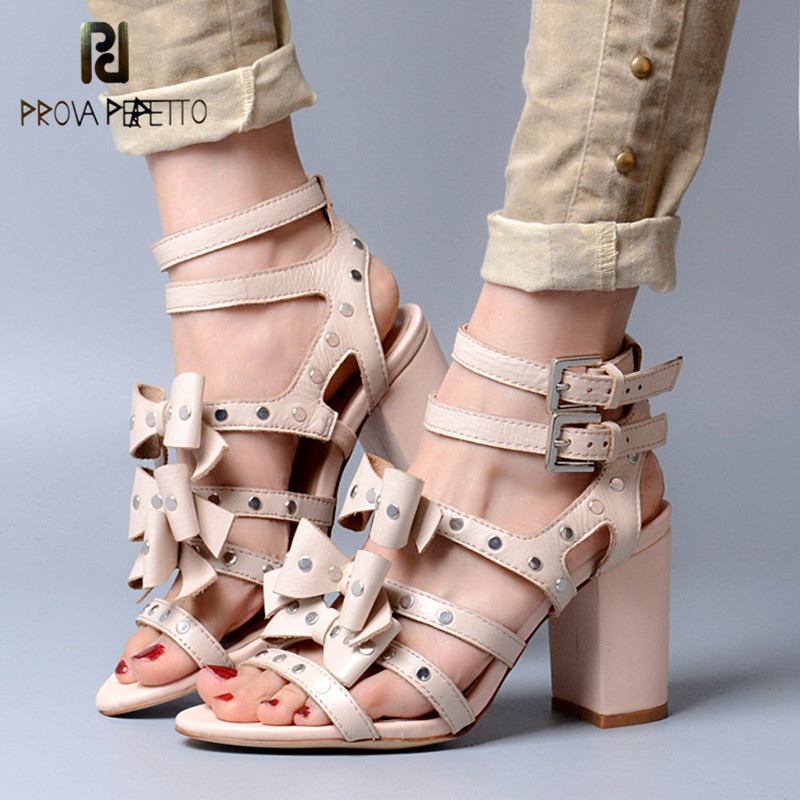 Prova Perfetto 2018 Summer New Style Comfort Woman Sandals All-match Real Leather Thick Heel Butterfly-knot Fashion Sandals prova perfetto 2018 summer new style comfort woman sandals all match real leather thick heel butterfly knot fashion sandals