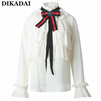 Women Ruffles Trim Cute Blouse Shirts Vintage Long Sleeve Lolita Neck Tie Blouses Casual Office Ladies