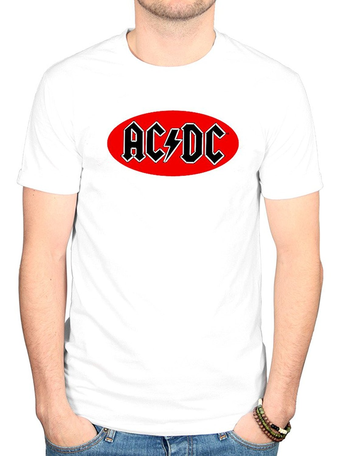Gildan AC/DC Oval Logo T-Shirt Back In Black Album Dirty Deeds