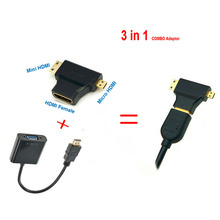 HDMI to VGA Cable Micro Mini HDMI Input Adapter to VGA output 1080p HDMI Converter Connector