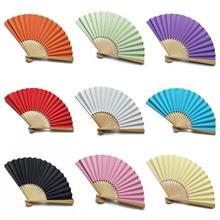 Деревянный бумажный вентилятор, складной ручной Одноцветный вентилятор, украшение для свадебной вечеринки, многофункциональный вентилятор для танцев, реквизит для сцены, хороший подарок, 1 шт