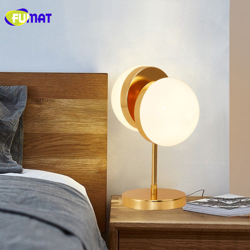 US $170.0 |FUMAT Half Sphere Table Lamps Modern Table Lamp For Bedroom  Fashion Study Decoration Glass Table Lamp Dresser Lamparas de mesa-in Table  ...
