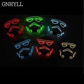 GNHYLL 10 renk moda Film Tema Cadılar Bayramı Maskesi EL Tel LED Neon 2AA tarafından hafif parlamalı Parti Maskesi Powered Pil