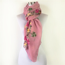 Big Size Floral Viscose Scarf Luxury embroidery lace Flowers women cotton shawls scarfs