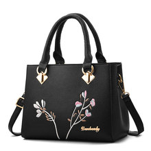 High Quality Women Embroidery Flower Handbag PU Leather Ladies Tote Crossbody Shoulder Bag Purse Satchel Top Handle Bags girls open shoulder flower embroidery top