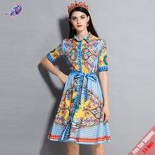 93e14fb21c New 2018 Runway Summer Dress Women s Fashion Designer Turn Down Collar Bow  Belt Vintage Printed Sexy Split Dress Free Express