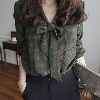 2017 blouse shirt woman fashion army green print chiffon bow v-neck shirt plus size for 3XL large female Chemisier