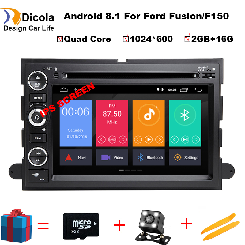 1024X600 Quad Core Android 8.1 Car DVD For Ford Fusion Explorer 500 F150 F250 F350 Edge Expedition Mustang Radio GPS Navigation