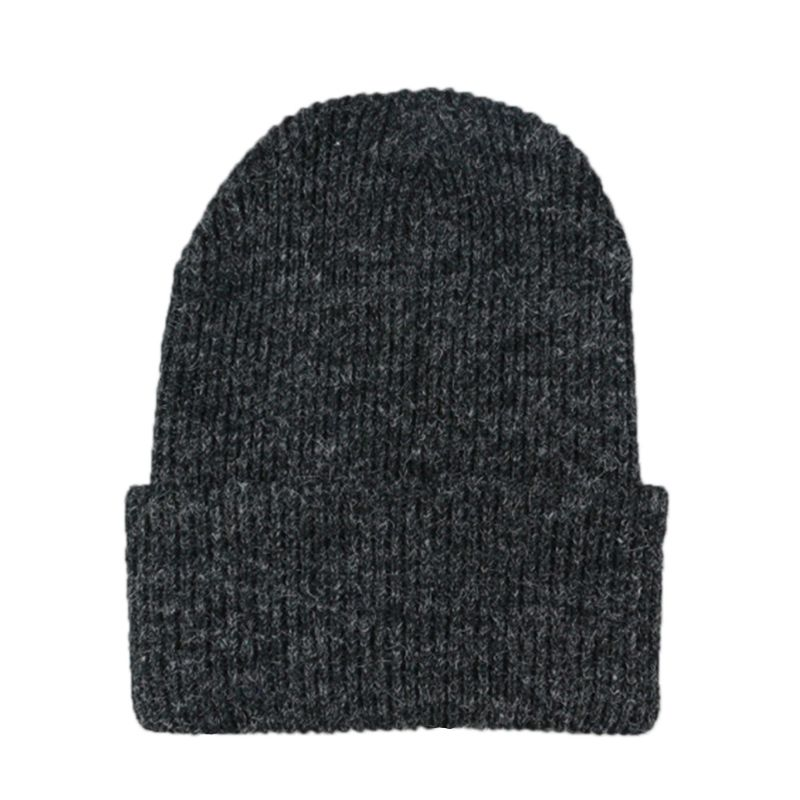New Arrive Unisex Winter Autumn Rabbit Fur Ribbed Knitted Hat Thickened Cuffed Solid Color   Skullies     Beanie   Cap Snow Ski Cap