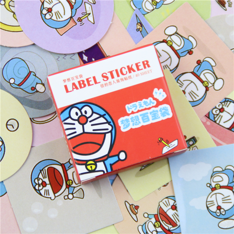 40 Pcs/ 1 Box Card Lover Doraemon Dream Treasure Bag Kawaii Diy Memo Label Sticker Diary Stickers Scrapbooking Decoration
