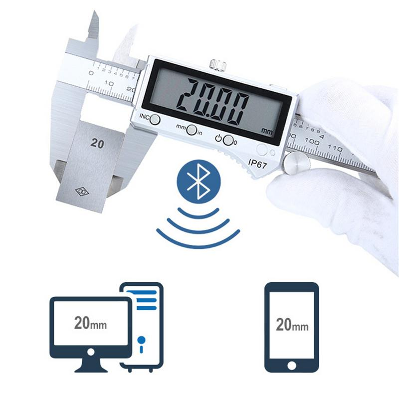 IP67 Bluetooth Waterproof 0-150MM Electronic Stainless Steel LCD Caliper Digital Vernier Caliper Micrometer Measuring Instrument 0 150mm 6inch digital vernier caliper waterproof stainless steel lcd electronic caliper gauge tool metric imperial conversion