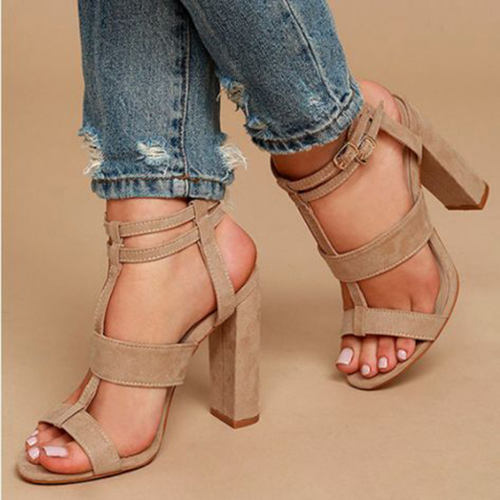 Parkside style Summer Women Sandals Square Heel Peep Toe High Heels female Shoes ankle Buckle Strap women shoes Female Pumps red patent leather strappy sandals cut out ankle strap buckle high heel shoes peep toe cage shoes women summer dress shoes